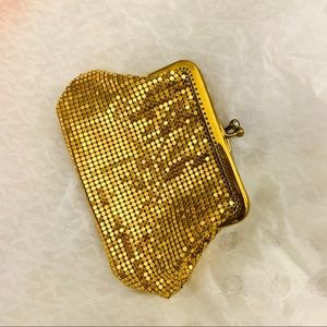 Vintage Gold Mesh Coin Purse Evening bag Diamonte